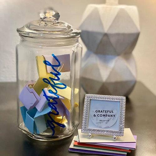 Blue Font Gratitude Jar