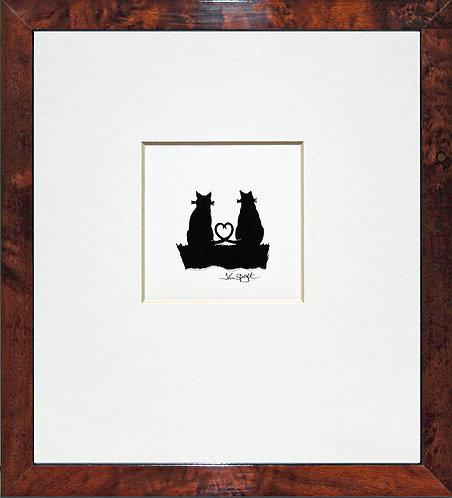 Cats - Togetherness in Walnut Veneer Frame