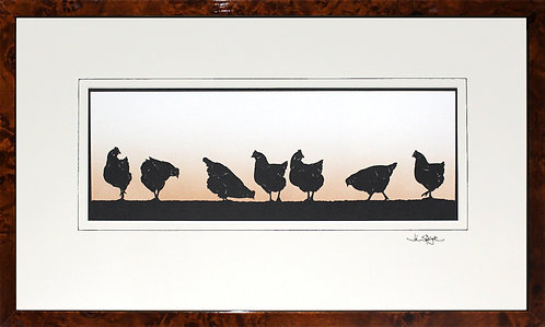 Hens - Large in Walnut Veneer Frame