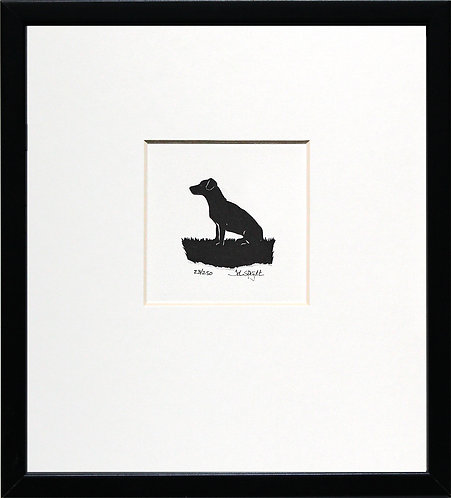 Jack Russell Sitting in Black Frame