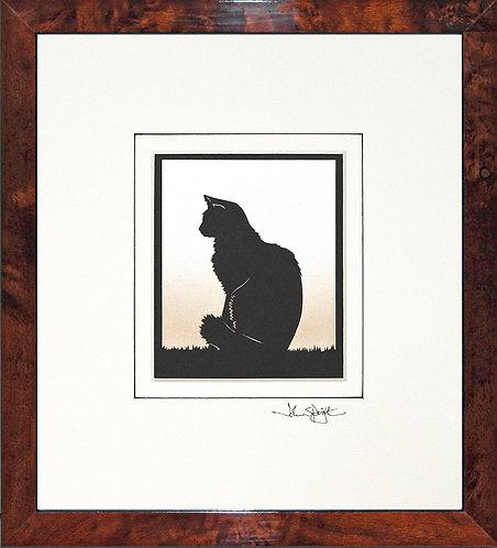 Cat Fluffy in Walnut Veneer Frame