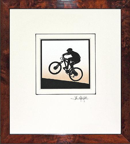 Cyclist - Mountain Biker in Walnut Veneer Frame