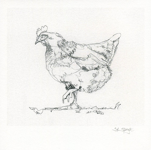 """Hen 8"""" x 8"""" Giclee Print Signed"""