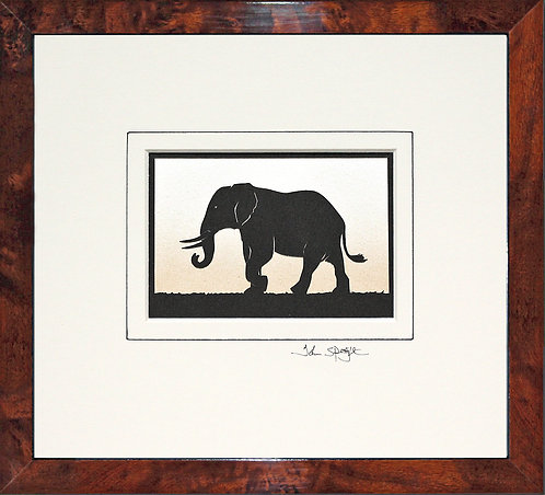 Elephant in Walnut Veneer Frame