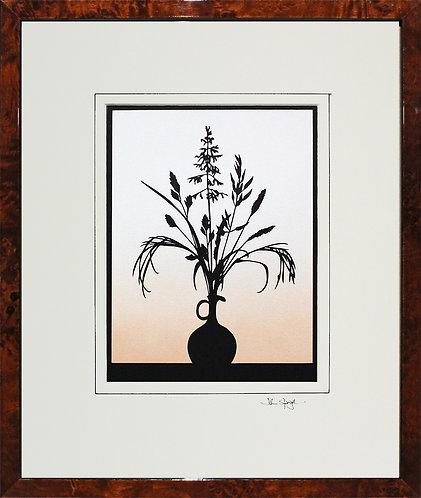 Grasses in Walnut Veneer Frame