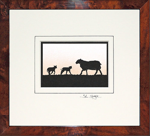 Sheep With Lambs in Walnut Veneer Frame