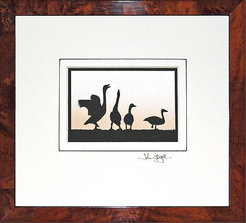 Beswick Swans in Walnut Veneer Frame