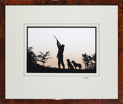 Shooter with Labradors - Large in Walnut Veneer Frame