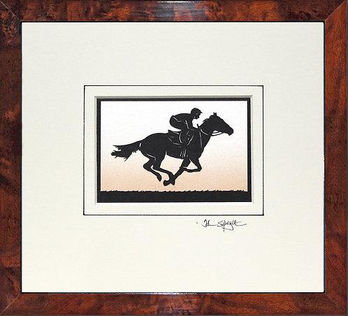 Racehorse and Jockey in Walnut Veneer Frame