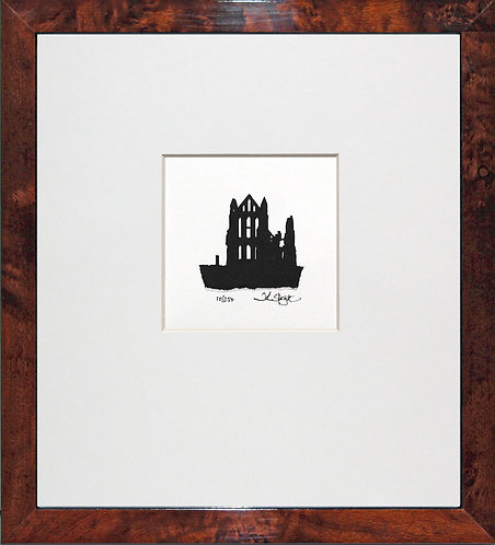Whitby Abbey in Walnut Veneer Frame