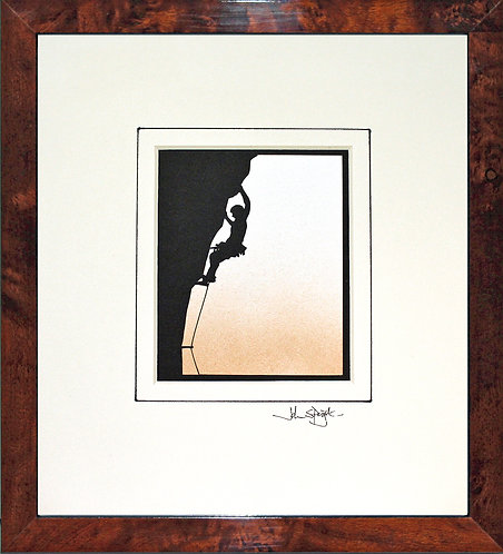Rock Climber in Walnut Veneer Frame