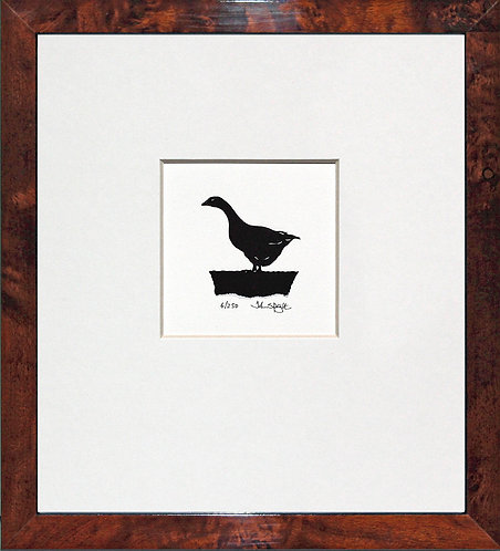 Goose in Walnut Veneer Frame