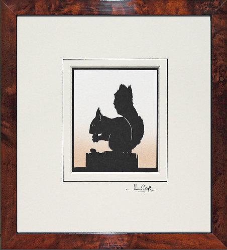 Squirrel in Walnut Veneer Frame