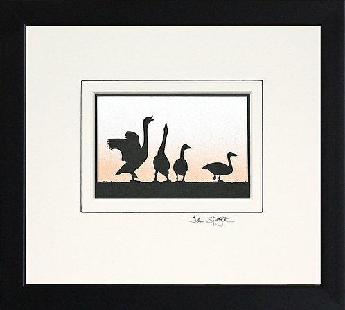 Beswick Swans in Black Frame