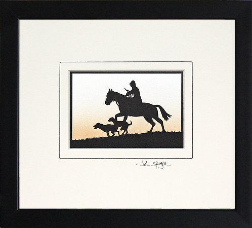 Horse and Hounds Framed in Black Frame