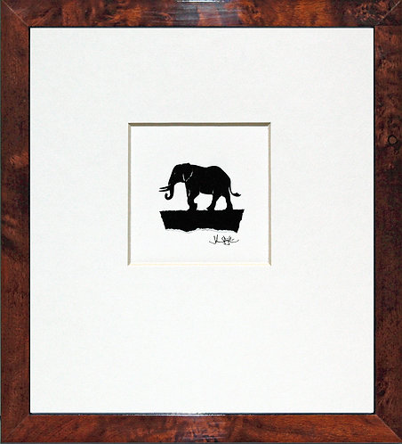 Elephant in Walnut Veneer Frame