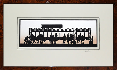 Horse Race Starting Gate in Walnut Veneer Frame