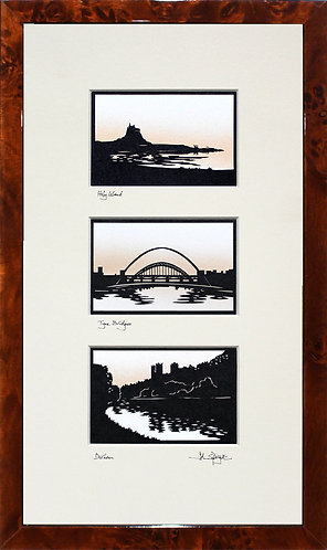 Holy Island, Tyne Bridges & Durham Triple in Walnut Veneer Frame