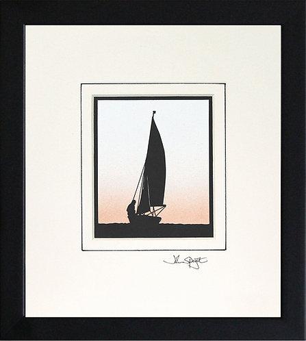 Sailing Dinghy in Black Frame
