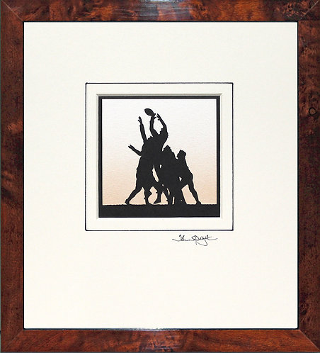 Rugby Union Lineout in Walnut Veneer Frame