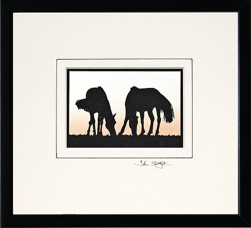 Horses in Black Frame