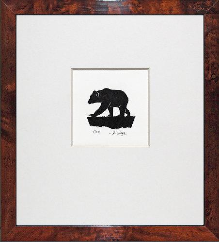 Bear in Walnut Veneer Frame