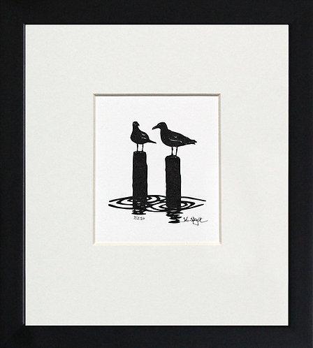 Seagulls in Black Frame