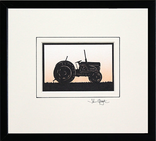 Vintage Tractor in Black Frame