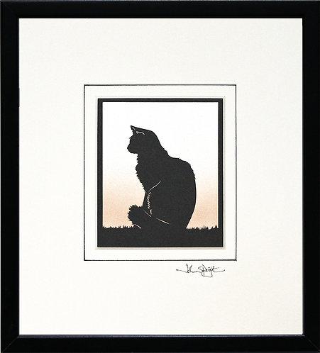 Cat - Fluffy in Black Frame