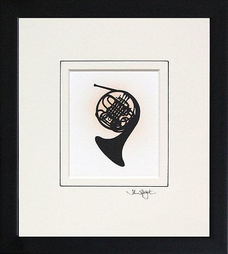 French Horn in Black Frame