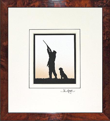 Shooter With Labrador in Walnut Veneer Frame
