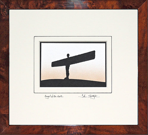 Angel of the North in Walnut Veneer Frame