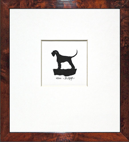 Giant Schnauzer - Full Tail in Walnut Veneer Frame