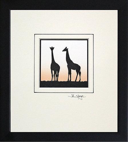 Giraffes in Black Frame
