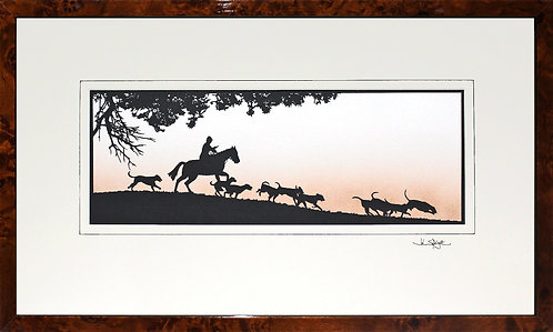 Horse and Hounds - Large in Walnut Veneer Frame