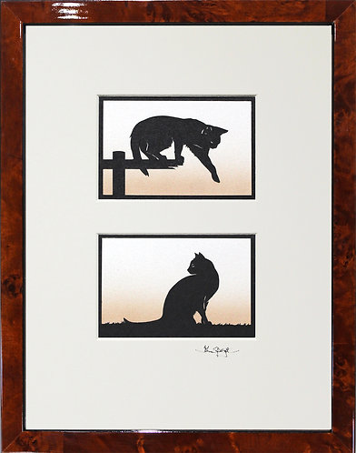 Cats Pair in Walnut Veneer Frame