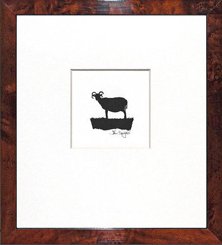 Hebridean Sheep - Standing in Walnut Veneer Frame