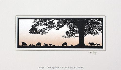 Sheep, Lambs and Tree