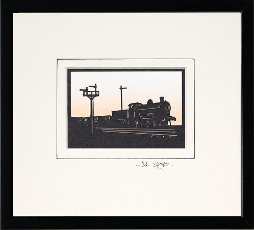 Steam Locomotive in Black Frame