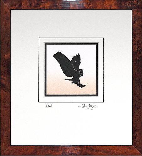 Owl in Walnut Veneer Frame
