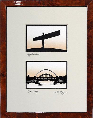 Angel of the North & Tyne Bridges in Walnut Veneer Frame