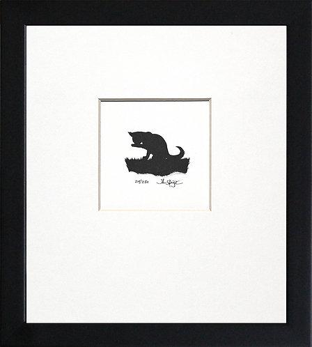 Cat Licking Paw in Black Frame