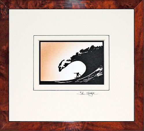 Surfing in Walnut Veneer Frame