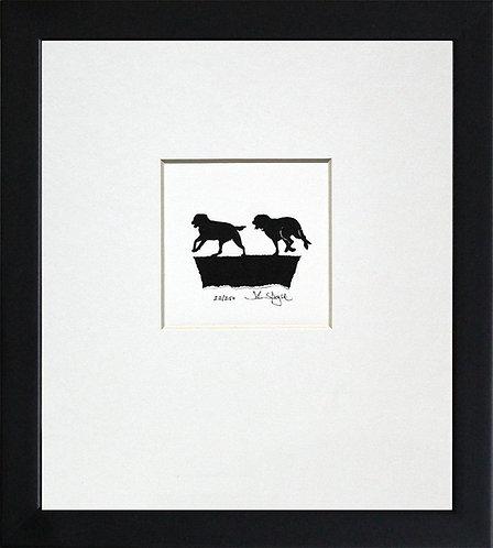 Labradors Running in Black Frame