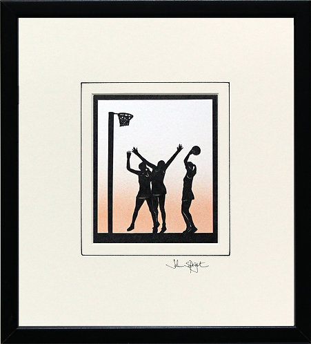 Netball in Black Frame