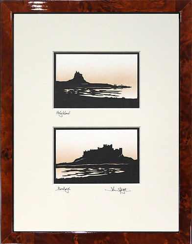 Holy Island & Bamburgh Pair in Walnut Veneer Frame