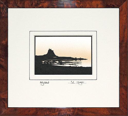 Holy Island in Walnut Veneer Frame