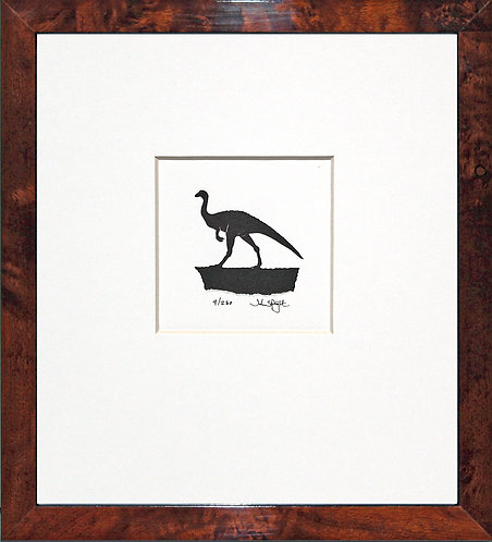Dinosaur - Gallimimus in Walnut Veneer Frame