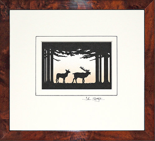 Deer in Walnut Veneer Frame