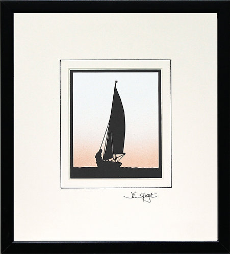 Sailing Dinghy in Black Frame